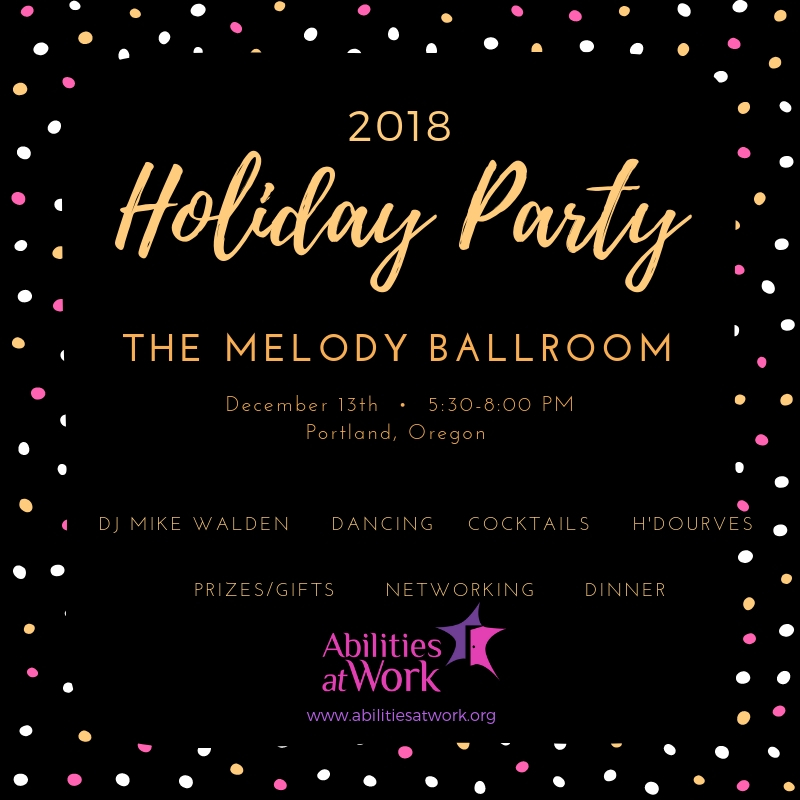 AAW 2018 Holiday Party at The Melody Ballroom, December 13th from 5:30pm to 8:00pm
