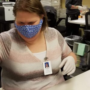 employee wearing mask